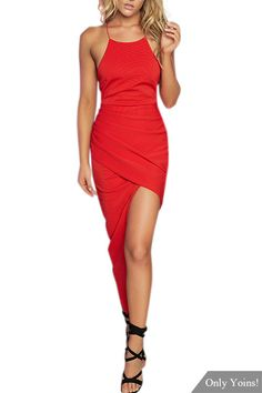 Red Round Neck Backless Midi Dress - US$7.99 -YOINS