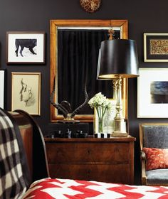 Wall color and rich wood tones for sophisticated boy's room. Tommy Smithe