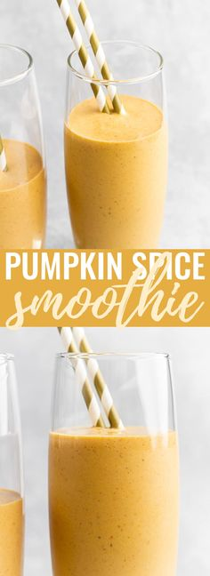 Pumpkin Spice Smoothie - A deliciously thick and smooth pumpkin and banana smoothie that is perfectly spiced with warm flavours, and is super healthy and filling. The BEST way to start off those autumn days! Healthy Pumpkin, Baked Pumpkin, Pumpkin Puree, Pumpkin Recipes, Pumpkin Spice, Vegetable Smoothies, Yogurt Smoothies, Oatmeal Smoothies, Breakfast Smoothies