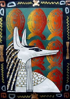 IDEA: Layer drawing with styrofoam print! This project started with styrofoam prints of an Egyptian symbol called a cartouche. We printed with a blend of three colors of printers ink.  We cut out our profiles, and glued them over our styrofoam prints. We used small rolls of black paper so the profiles stand approx. one inch from the background and create an illusion of 3-D.  Lastly, we finished off our projects with a black frame painted with metallic paints in simple patterns.