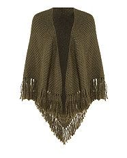 Khaki Knitted Blanket Wrap  | New Look