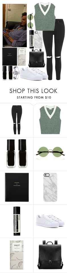 """""""Plane ride with Harry"""" by kennedey-lynn-freeman ❤ liked on Polyvore featuring Topshop, 3.1 Phillip Lim, The New Black, The Row, Smythson, Uncommon, Aesop and adidas"""