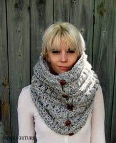 Womens Scarf Chunky Cowl 6 Button Wool Cowl Scarf by SWAKCouture, $68.00