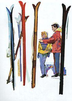 1958 Sun Valley ski area couple and skis color art vintage print ad Vintage Ski Posters, Vintage Prints, Ski And Sun, Sun Valley Ski, Ski Season, Skiing, Art Prints, Telluride Colorado, 1950s Christmas