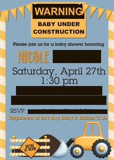 Construction Themed Baby Shower Invitation | Lucky Seven Designs