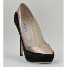 Perfect for the holidays! Jimmy Choo Black and Nude Glitter Sepia Pumps #moshposh