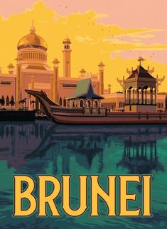 ~ Anderson Design Group Minimal Travel, Travel Illustration, Art Graphique, Vintage Travel Posters, Retro, Brunei, The Great Outdoors, Illustrations Posters, Places To Travel