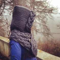 Hooded cowl - knitting pattern, grey hoodie, neck warmer, Instant download