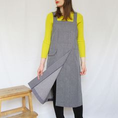 Thoughtfully designed and handmade - medium-heavyweight denim gives good protection for a variety of craft activities, home & garden. Comfortable crossback design, split leg skirt covers legs when at the wheel. Work Aprons, Split Legs, Split Skirt, Petite Size, Model Photos, Navy And White, Work Wear, Pottery, Craft Activities