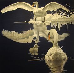 Inge Mardal and Steen Hougs a couple from Denmark,work together to create stunning quilts, thats look like realistic paintings. He paints colours on fabric, she does applique and machine quilting, just wow (the swan is the danish nationel bird)