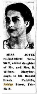 1941 Miss Joyce Elizabeth Wilson is engaged to Mr Ronald Frank Cutcliffe Engagements, Engagement