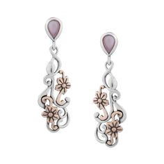 Carolyn Pollack Jewelry | Buttercup Pink Mother of Pearl Sterling and Bronze Drop Earrings