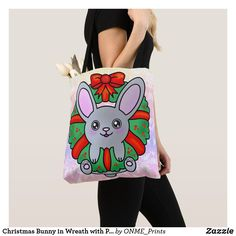 Christmas Bunny in Wreath with Pastel Snowflakes Tote Bag #Onmeprints #Zazzle #Zazzlemade #Zazzlestore #Zazzleshop #Zazzlestyle #Christmas #Bunny #Wreath #Pastel #Snowflakes #Tote #Bag Christmas Bunny, Christmas Time, Merry Christmas, Shopping Bag Design, Shopping Bags, Pretty And Cute, Animal Design, Pastel Pink, Snowflakes
