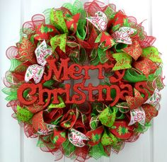 Glitter Merry Christmas Mesh Front Door Wreath | Red Lime Green White : C1