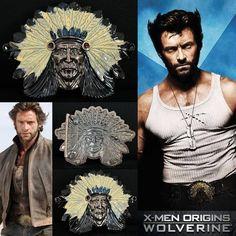 Wolverine's Native American Chief Head Belt Buckle Wolverine Costume, Hugh Jackman, X Men, Belt Buckles, Native American, Image Search, Marvel, Indian, Comics