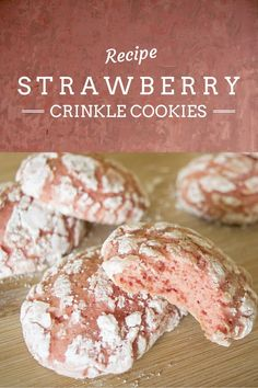 Strawberry Crinkle Cookies || Delicious, light and fluffy strawberry cookies. || Kelsey in the Kitchen