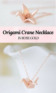 Origami crane necklace in rose gold #crane #origami #peace #origamicranes #necklace #rosegold #promoted #etsy