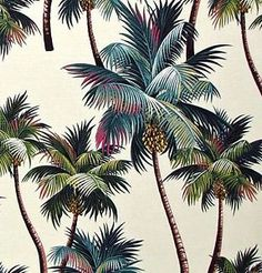 Palm Tree Tropical Upholstery Home Decor Hawaii Sofa Pillows Cushions Curtains Bedding HIgh Quality Cotton by the Yard - Bed Curtains, Tapestry Fabric, Deco Floral, Sofa Cushion Covers, Duvet Bedding, Hawaiian Print, Cool Patterns, Palm Trees, Upholstery
