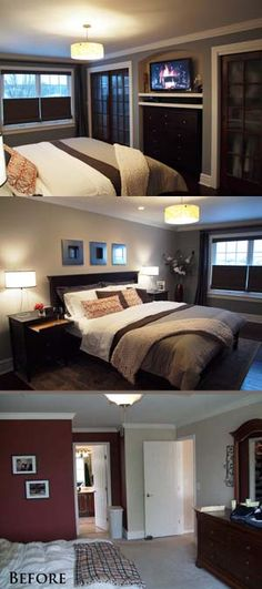"Master bedroom makeover in soothing tones reinforces the ""master suite"" concept."