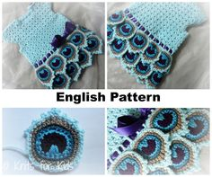 English Crochet Pattern Dress Peacock 0-18 от ElodyKnitsforKids
