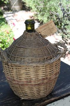Vintage French Wicker Jug