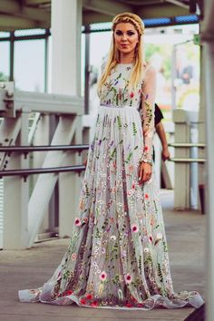 Flower wedding dress in gray, Color wedding dress with sleeves, Bridal dress Long wedding gown in grey, Embroidered wedding dress from tulle - Dresses - Weddingdress Long Gown For Wedding, Colored Wedding Gowns, Wedding Dresses With Flowers, Wedding Dress Styles, Lovely Dresses, Trendy Dresses, Bridal Dresses, Bridesmaid Dresses, Prom Dresses
