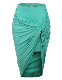 LE3NO Womens Asymmetrical Banded Waist Wrap Cut Out Hi Low Skirt