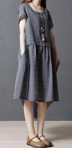 "Women loose fitting plus over size black white stripes pocket dress robe fashion chic. Size M: Bust 38.6"" shoulder 15.4"" length 36.6"". Size L: Bust 40.2"" shoulder 15.8"" length 37"". Size XL: Bust 41.8"" shoulder 16.2"" length 37.4"". | eBay!"