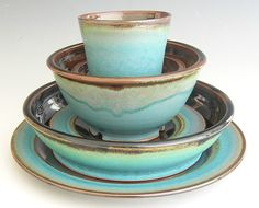 Ceramic Dinnerware Set  Made to Order  by clearmountaincraft, $140.00 ~ turquoise & brown...love