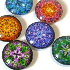 Colorful Mandala Magnets, Set of Fridge Magnets