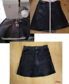 DIY Tutorial DIY jeans refashion / DIY Old Jeans Skirt - Bead&Cord