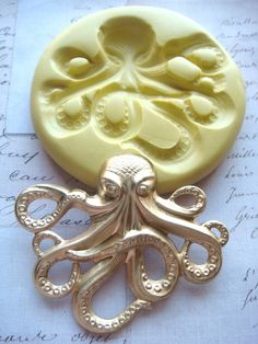 Steampunk - OCTOPUS (large) - Flexible Silicone Mold - Push Mold, Jewelry Mold, Polymer Clay Mold, Resin Mold, Craft Mold,PMC Mold. $10.99, via Etsy.