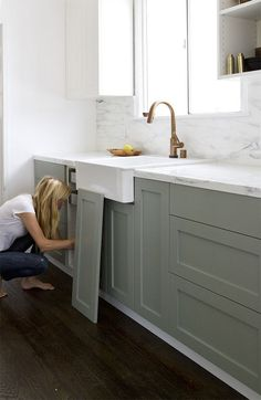 Ikea Upgrade: The SemiHandmade Kitchen Remodel - Remodelista pigeon by farrow & ball - purty! Also, there's a cool link to a company that makes custom cabinet fronts that fit onto IKEA cabinets here. Ikea Kitchen Cabinets, Kitchen Cabinet Colors, Painting Kitchen Cabinets, Kitchen Paint, Kitchen Dining, Kitchen Decor, Kitchen Ideas, Gray Cabinets, Shaker Cabinets