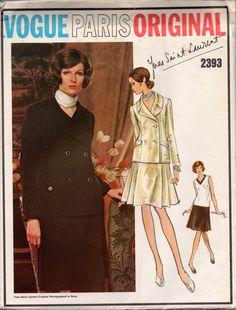 YVES SAINT LAURENT Skirt Suit & Overblouse Vogue Paris Original 2393 Sewing Pattern Size 14 Bust 36 inches UNCUT Factory Folded