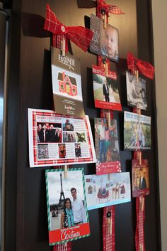 Christmas Card Display - we already use a ribbon, this is just a way to make it look cuter!