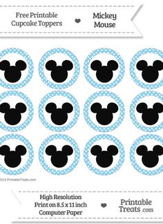 Free Baby Blue Polka Dot Mickey Mouse Cupcake Toppers Mickey Mouse Food, Mickey Mouse Birthday Decorations, Mickey 1st Birthdays, Mickey Mouse First Birthday, Festa Mickey Baby, Mickey Party, Free Baby Shower Printables, Mickey Mouse Baby Shower, Mickey Mouse Cupcakes