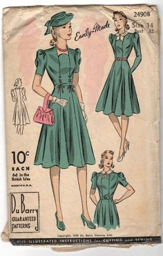 Vintage DuBarry Pattern Old Size 14 from the 1940s by wysrwmn, $4.00