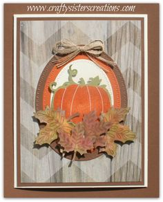 "Today I'd like to share another card I made using the September Stamp of the Month called ""Blessed Beyond Measure"". I have to say this is one of my favs! I used t… fallcards Scrapbooking, Scrapbook Cards, Halloween Cards, Fall Halloween, Fall Cards, Holiday Cards, Pumpkin Cards, Leaf Cards, Embossed Cards"