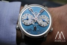 MB&F LM1 set in platinum with a striking blue dial.