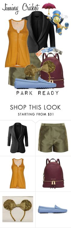 """""""Jiminy Cricket: Park Ready"""" by laniocracy ❤ liked on Polyvore featuring LE3NO, 3.1 Phillip Lim, SIYU, Michael Kors, Disney, Tod's, Pinocchio and disneyland"""