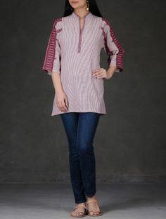 White-Burgundy Striped Mandarin Collar Cotton Tunic
