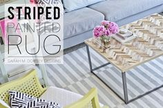 sarah m. dorsey designs: DIY Striped Painted Rug in about 2.5 Hours! Use Farrow and Ball Pigeon to paint the rug!