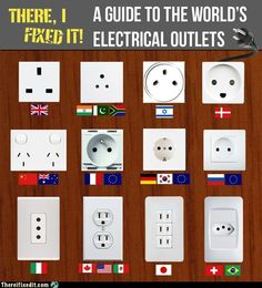 Dossier : Les prises électriques du monde - Invierno Tutorial and Ideas Electrical Outlets, Electrical Wiring, Electrical Engineering, Electrical Projects, Componentes Smd, Picture Day, Good To Know, Fun Facts, Random Facts