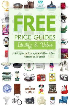 #Free online price guides WITH PHOTOS AND SUGGESTED PRICES to help you estimate the market value of popular antiques, collectibles and household goods commonly sold at thrift stores and garage sales. #priceguides #antiques #thriftstores #garagesales