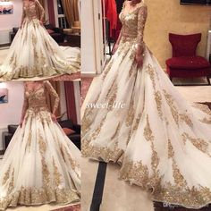 Cinderella Two Pieces Wedding Dress Arabic Ball Gown Gold Lace Beads Luxury V Neck 3/4 Long Sleeves Chapel Train Vintage Bridal Dresses 2015 Online with $205.68/Piece on Sweet-life's Store | DHgate.com