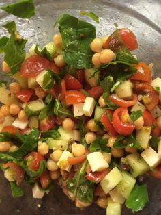 Tomato and Chickpea Salad 1/4 C. cucumber, chopped 1/2 C. cherry or grape tomatoes, quartered 1/4 C. chopped spinach or other greens 2/3 C. Mozzarella cheese, cubed 3 Tbsp. extra virgin olive oil 1 Tbsp. lemon juice 2 tsp. minced garlic Seasonings to taste (Italian seasoning, basil, oregano, etc. are good) In a bowl, combine …