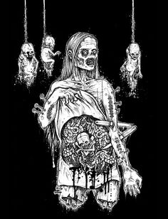 Mark Riddick is an American illustrator and graphic artist, specializing in posters and other graphics for death metal and black metal music. Riddick was born in Bossier City, Louisiana in 1976 and raised in Northern Virginia. Arte Horror, Horror Art, Satanic Art, Arte Obscura, Dark Artwork, Zombie Art, Macabre Art, Creepy Art, Gothic Art