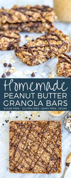 Homemade Peanut Butter Granola Bars Recipe is a healthy homemade snack for busy moms! They are oil-free and sugar-free because they are sweetened with dates! Plus they are gluten-free, dairy-free, vegan and full of protein and fiber! Dairy Free Granola Bars, Vegan Granola Bars, Sugar Free Granola, Granola Bars Peanut Butter, Homemade Peanut Butter, Date Granola Bars, Dairy Free Protein Bars, Granola Bar Recipes, Gluten Free Granola Bar Recipe