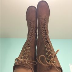 Vintage lace-up Boots Super comfortable and trendy lace up boots. Perfect for fall and winter/spring transition. Only worn a handful of times and no visible damage. #target #laceupboots #vintagestyle Mossimo Supply Co Shoes Lace Up Boots