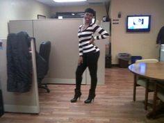Black and White striped shirt- TJ Maxx  Black stretch cotton (jean-like) pants-TJ Maxx  Black Boots- Michael Kors (Dillards)  Flower necklace (blk n white stones)- Carolee (Dillards)